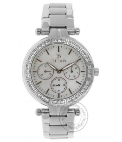 Titan Mother of Pearl Dial Silver Stainless Steel Strap Women's Watch 9965SM01J