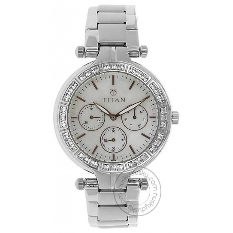 Titan Classique Chronograph Black Dial Silver Stainless Steel Strap Watch 9234NL01