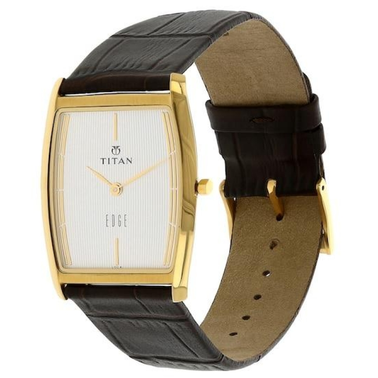 Titan Classique Analog Champagne Silver Dial Brown Leather Strap Watch NM1521YL08