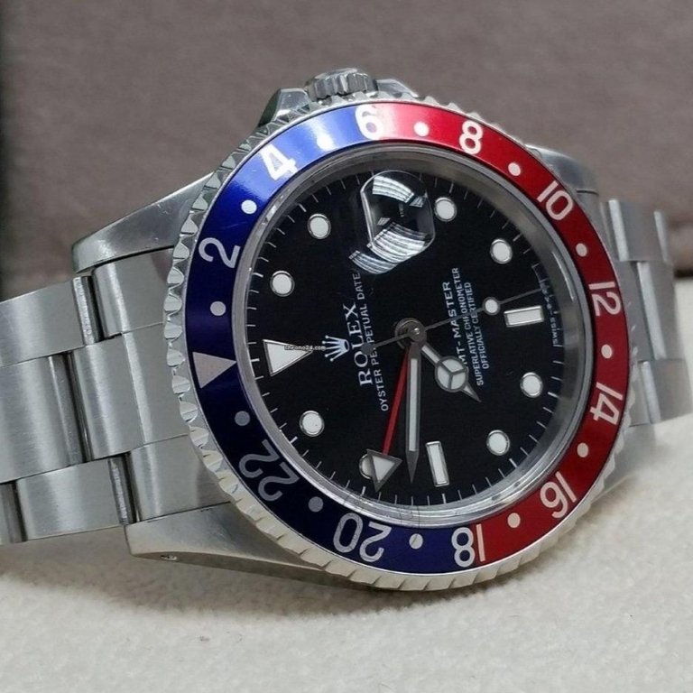 ROLEX GMT-Master II Stainless Steel Automatic Black Dial Blue Bezel Oyster silver Metal Mens Watch for Man