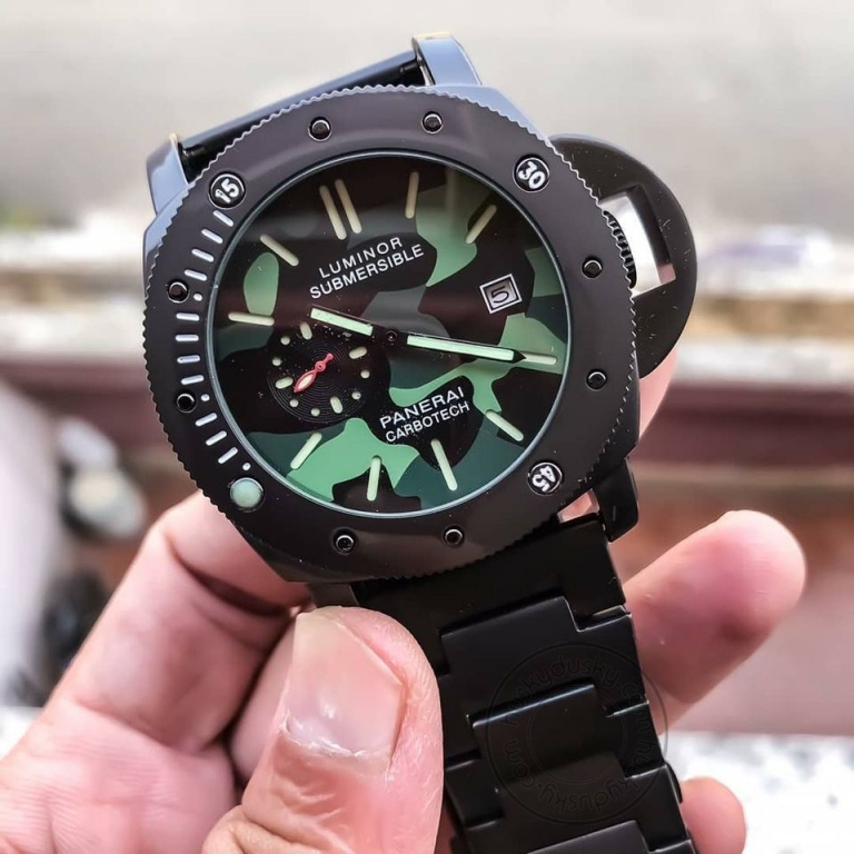LUMINOR SUBMERSIBLE [PANERAI CARBOTECH] LR-333 MULTI COLOR DIAL BLACK STAINLESS STEEL CHAIN FOR MEN's GIFT WATCH