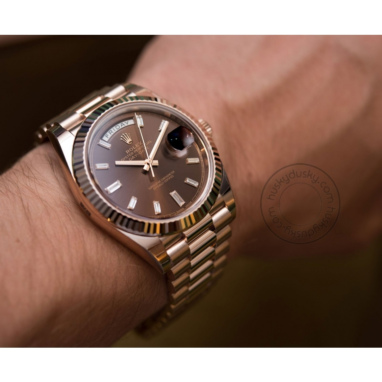Rolex Watch Oyster Perpetual Day-Date Brown Dial Metal Men's Automatic Watch for Man RLX-BW-654