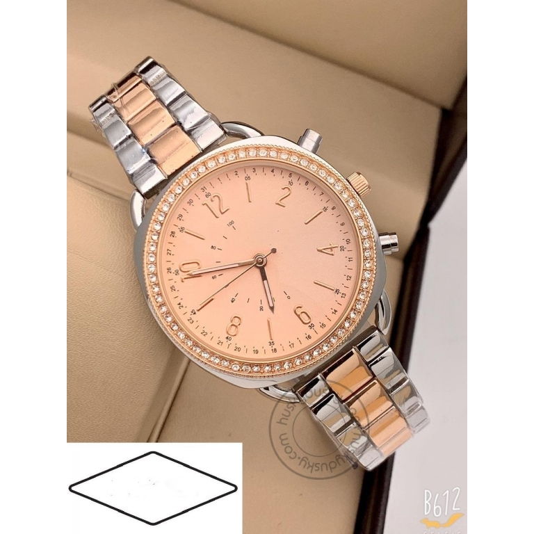 Imported Q Hybrid Women's Watch for Girl or Woman ES543 Rose Gold Dial Metal Silver Gold Strap Best Gift