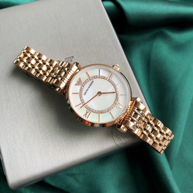 Emporio Armani Watch AR1909 Silver Dial Golden Strap For Women-Best gift
