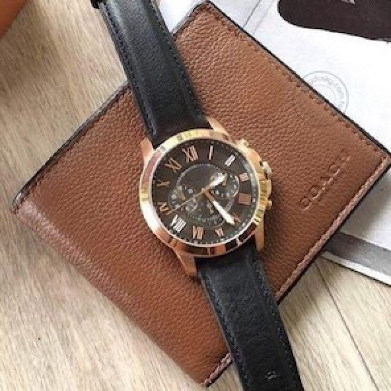 Imported Chronograph Black Men's Watch For Man Leather Casual Formal Gift Fs5085