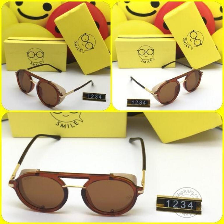 Smile Brown Glass Men's Women's Sunglass for Man Woman or Girl SM-11 Multi Color Frame Gift Sunglass