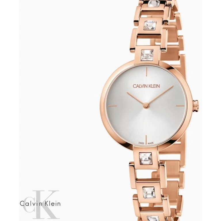 Calvin Klein Rose Gold Women's Watch For Girl or Woman CK-GOLD White Dial - Gift