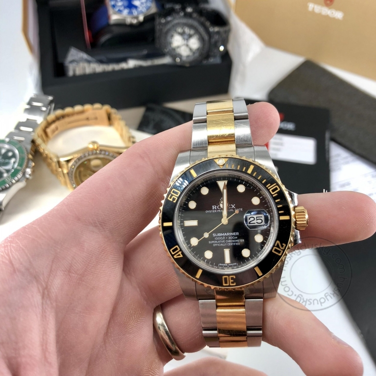 ROLEX Submariner Automatic Silver Gold Dial Metal Mens Watch for Man Dual Tone 116613LN Gift
