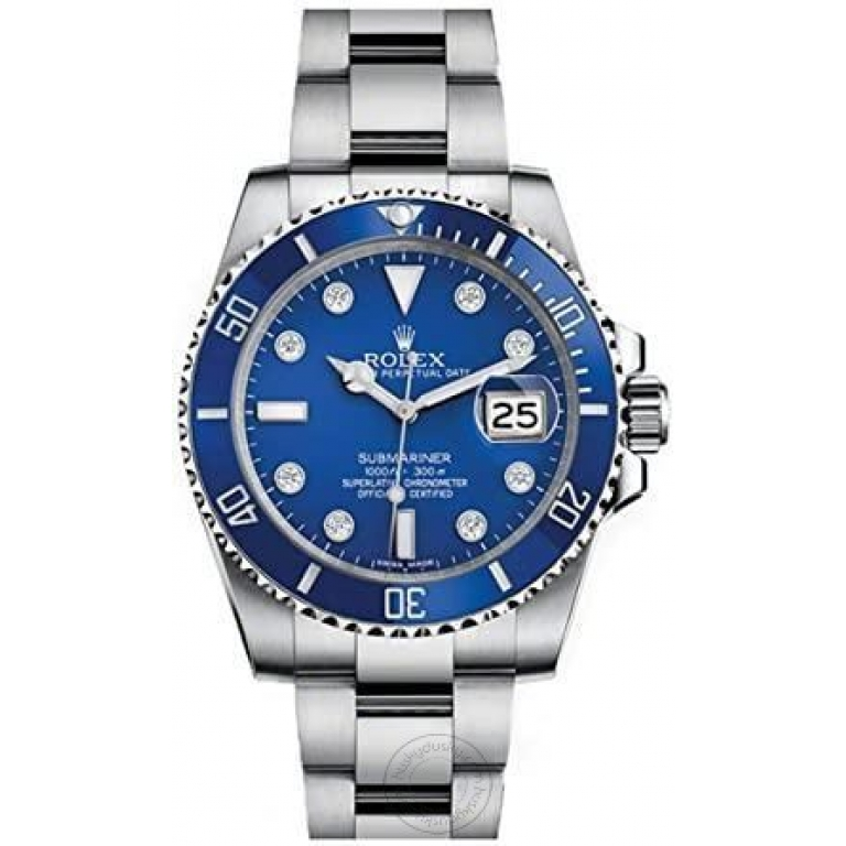 Rolex Submariner Automatic Silver Blue Dial Metal Men's Watch for Man RLX-BLUE-SUB