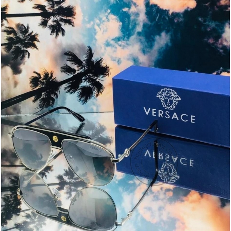 Versace Branded Grey Glass Men's Sunglass For Man VER-79 Black and White Frame Gift Sunglass
