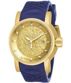 Invicta Mens 18215 S1 Rally Yakuza Blue Silicon Strap Watch For Man Dragon Design Golden Dial- Best Gift