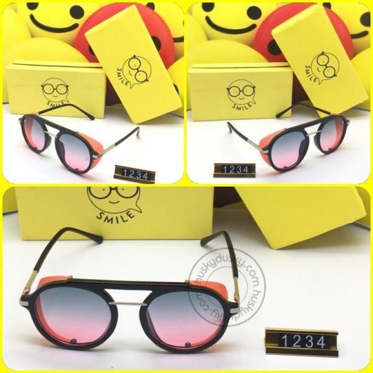 Smile Double Shade Glass Women's Sunglass for Woman or Girl SM-222 Golden Black Frame Gift Sunglas