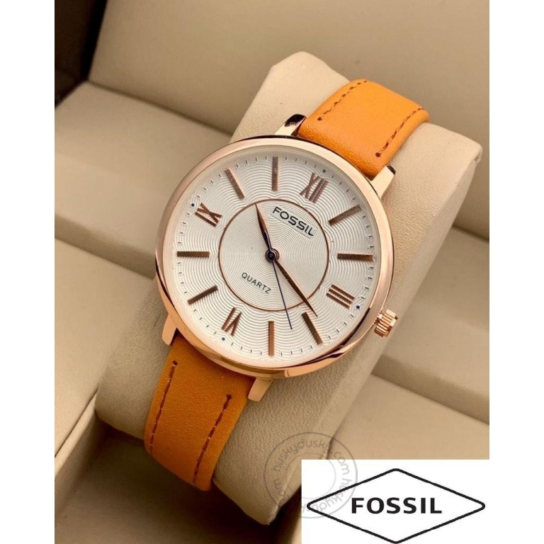 Fossil Orange Leather Watch For Women's ES555 White Design Dial For Girl or Woman Best Gift Watch