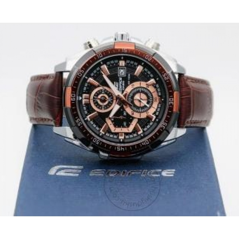 Casio Edifice Chronograph Brown Dial Leather Men's Watch EFR 539L 5AVUDF
