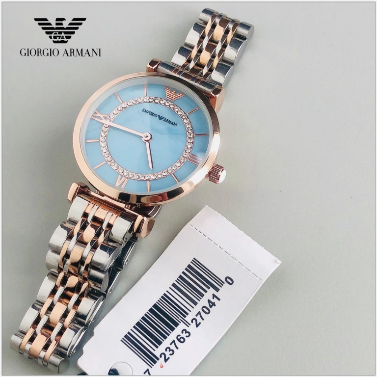 Emporio Armani Watch AR999 Sky Blue Dial Multi Color Strap Good Quality Watch For Women-Best gift