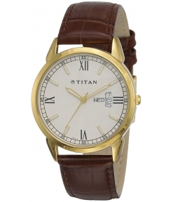 Titan Classique Analog Champagne Dial Men's Watch -NM1521YL08 / NL1521YL08- For Man Best Gift