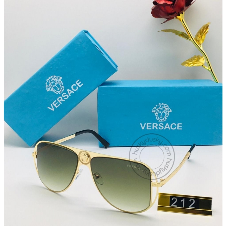 Versace Branded Green Glass Men's Sunglass For Man VER-212 Black and Gold Frame Gift Sunglass