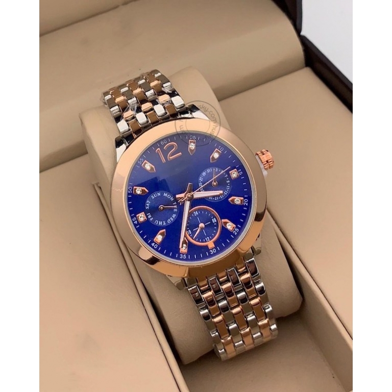 Imported Blue Dial Women's Watch For Girl Or Woman Mk4242 Chronograph Multi Dial Gold Silver Day Date