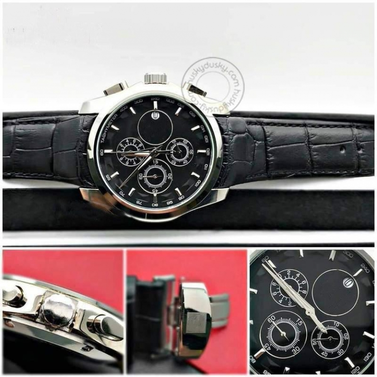 Imported Chronograph Black Leather Men's Watch For Man Silver Black - Gift Ts-654L-Sb