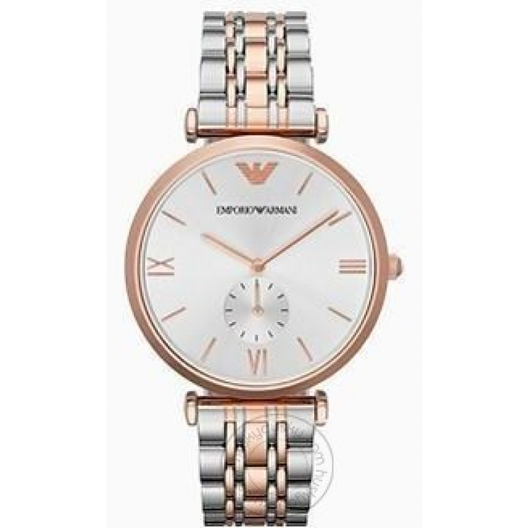 Emporio Armani Two-tone Strap white Dial Men's Watch For AR1677 Gift Best watch for Man