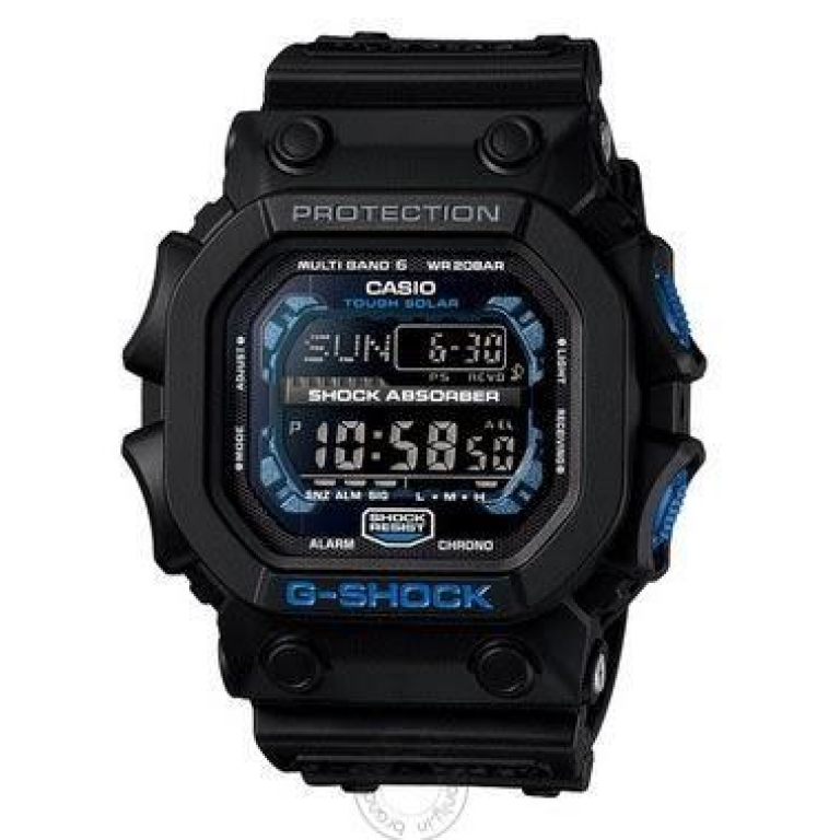 Casio G-Shock Analog Digital Black Belt Men's Watch For Man G-Shock: Gravity-Extra GXW-56E Black & Blue Color Dial Day And Date Gift Watch Shock