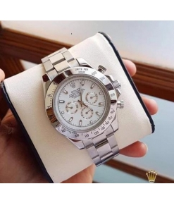 ROLEX Chronograph Automatic Silver Strap Men's Watch For Man RLX-SILV-003 White Dial Gift Watch