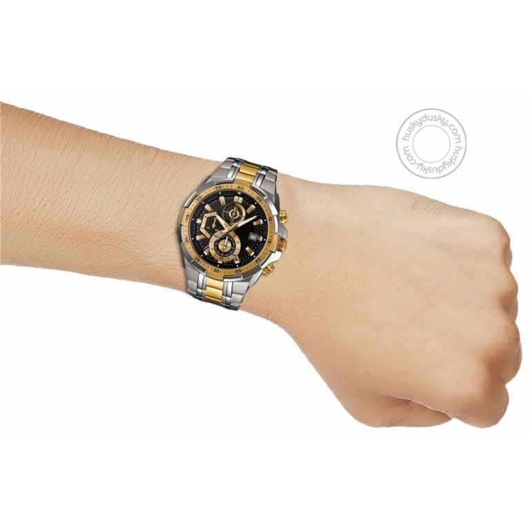 Imported Chronograph Black Dial Gold Metal Men's Watch Efr 539Sg 1Avudf