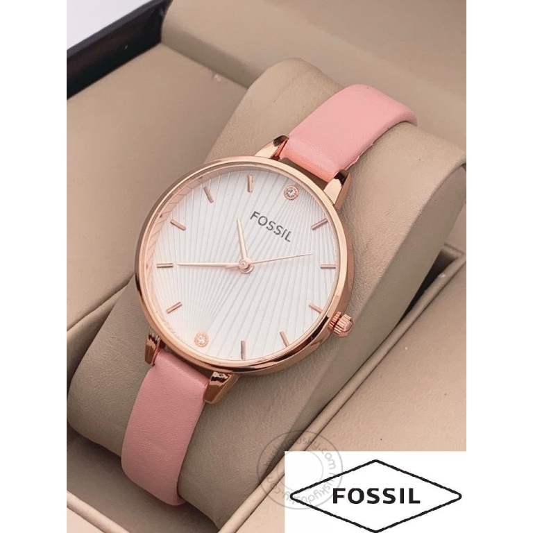 Fossil Pink Leather Watch For Women's ES888 White Design Dial For Girl or Woman Best Gift Watch