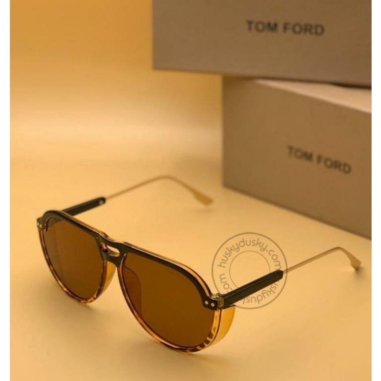 Tom Ford Branded Transparent Brown Glass Men's Sunglass For Man TF-197 Gold Stick Frame Gift Sunglass