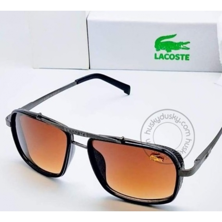 Lacoste Branded Brown Glass Men's Sunglass For Man With Balck Frame LS-565 Gift Sunglass