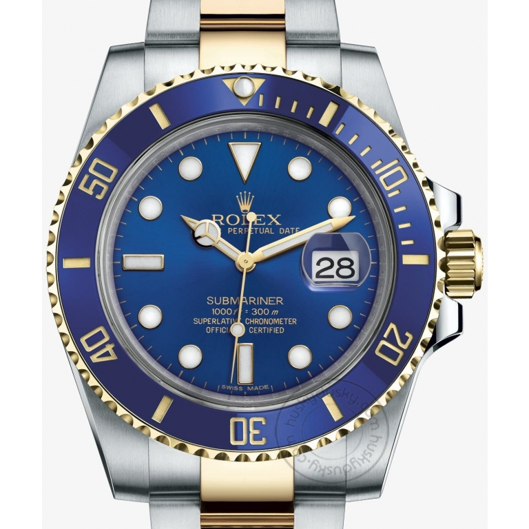 Rolex Watches Submariner Automatic Silver Gold Blue Dial Metal Men's Watch for Man RLX-BLUE-SG Dual Tone