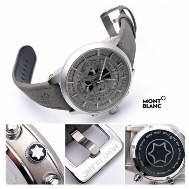 Mont Blanc Grey Chronograph Leather Men's Watch for Man M1122 Formal Casual