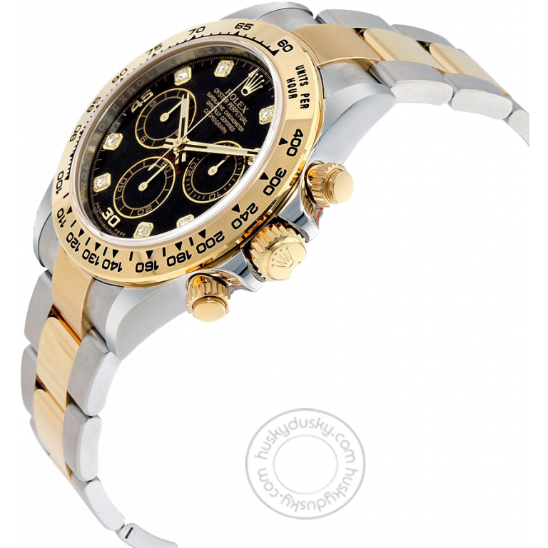 Rolex Chronograph Automatic Gold Silver Strap Men's Watch For Man RLX-SG-007 Black Dial Gift Watch