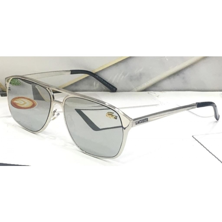 Lacoste Branded Silver Glass Men's Sunglass For Man LS-84 Silver Frame Gift Sunglass