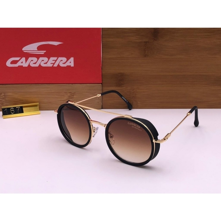 Carrera Branded Transparent Brown Glass Men's and Women's Sunglass For Man and Woman or Girl CR-38 Gold Stick Unisex Gift Sunglass