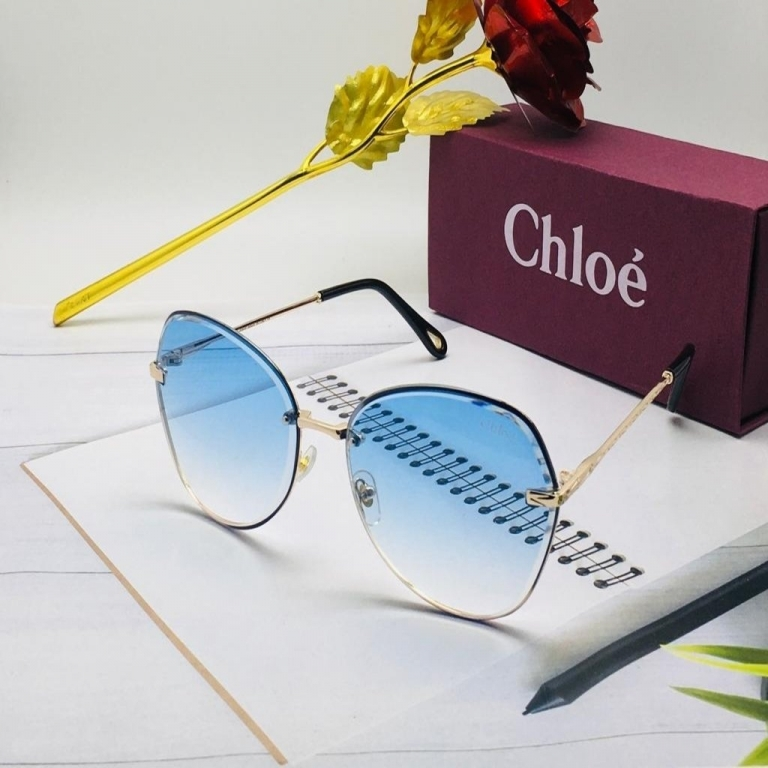 Chloe Branded Blue Color Glass Men's Women's Sunglass For Man Woman or Girl COE-167 Gold Stick Gift Sunglass