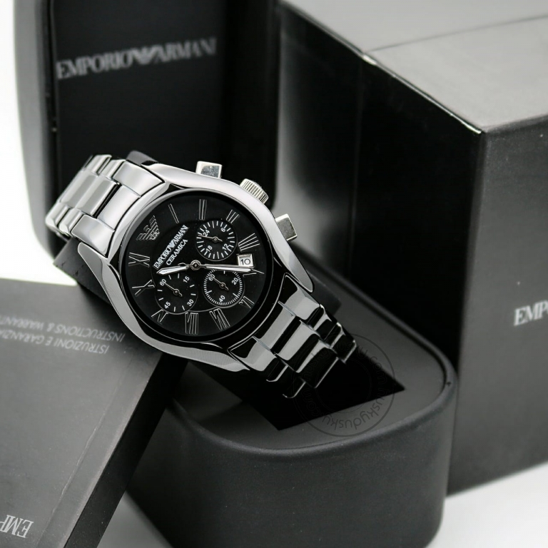 Emporio Armani Chronograph Black Silver Dial Men's Watch For Man AR1400 Date Gift Watch