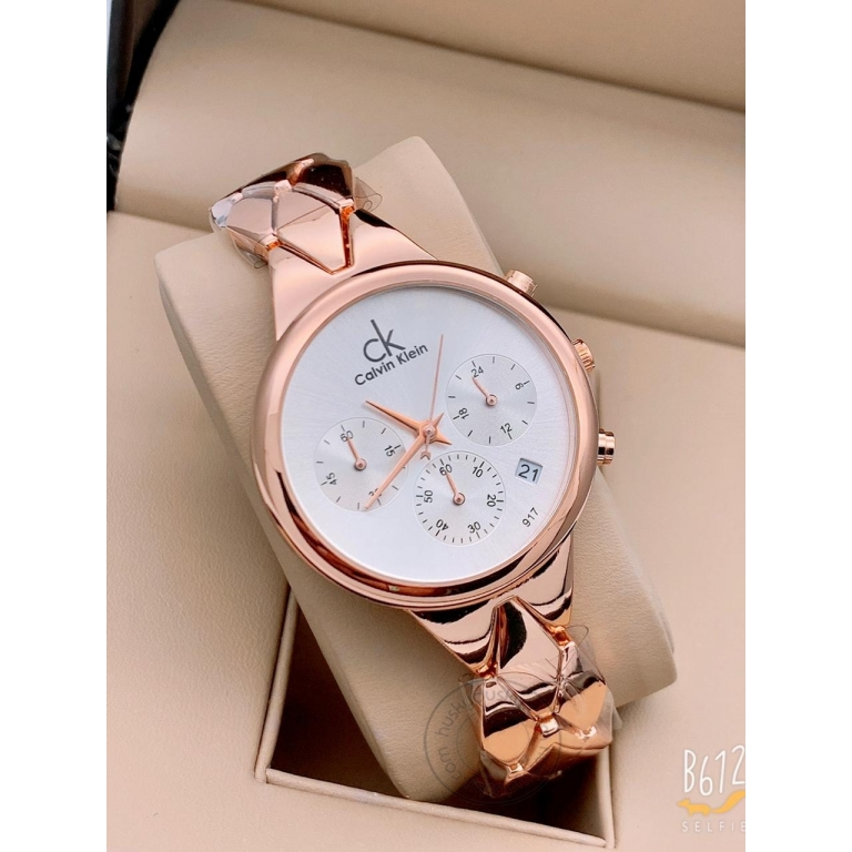 Calvin Klein Rose Gold Women's Chronographs Date Watch For Girl or Woman CK-11 White Dial Metal Strap- Gift
