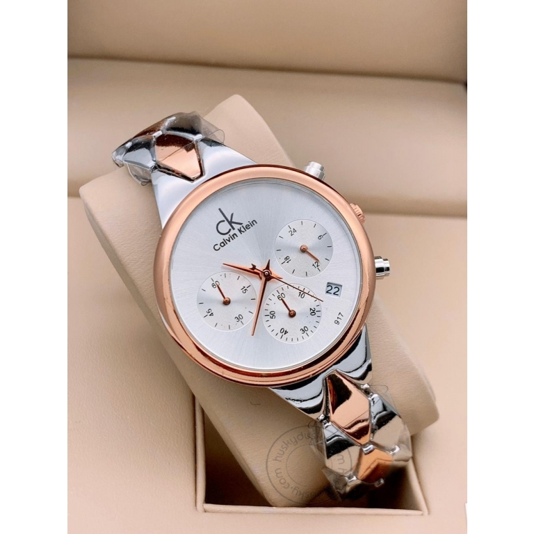 Calvin Klein Multi Color Women's Chronographs Date Watch For Girl or Woman CK-13 White Dial Metal Strap- Gift