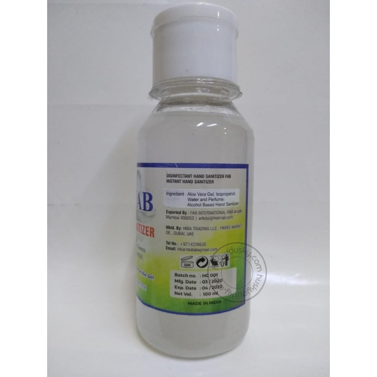 FAB HAND SANITIZER For Protection Skin Care Alcohol Based Killed 99.99 Germs Hand Rub 100ML SAN-Pack Of 10