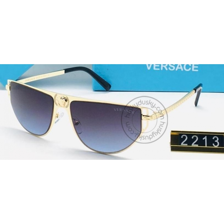 Versace Branded Double Shade Blue Glass Men's Sunglass For Man VER-2213 Black and Gold Frame Gift Sunglass
