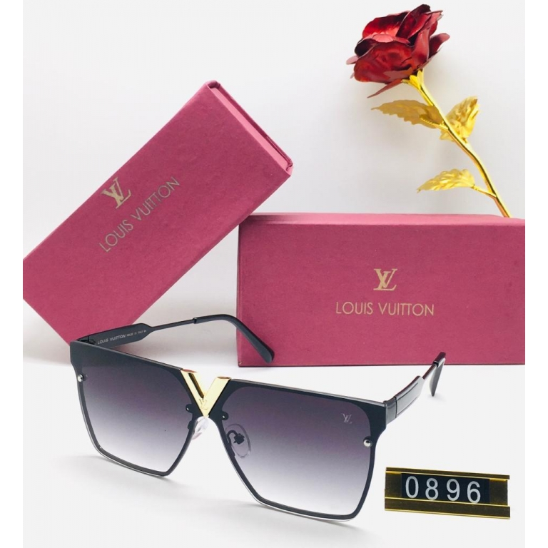 Louis Vuitton Branded Double Shade Black Glass Men's and Women's Sunglass for Man and Woman or Girls LV-0896 Black Frame Unisex Gift Sunglass