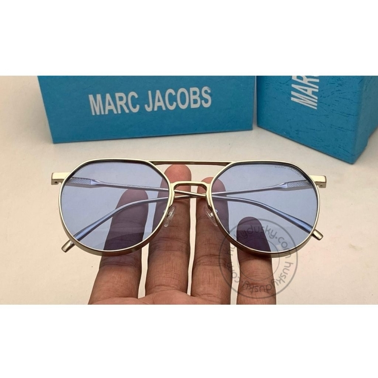 Marc Jacobs Branded Transparent Purple Glass Men's Sunglass For Man MJ-58 Gold Silver Gift Sunglass