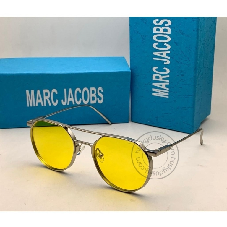 Marc Jacobs Branded yellow Glass Men's Sunglass For Man MJ-63 Silver Stick Gift Sunglass
