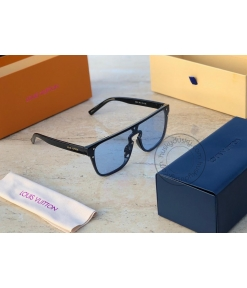Louis Vuitton Branded Sky Blue Glass Men's and Women's Sunglass for Man and Woman or Girls LV-2458 Black Frame Unisex Gift Sunglass