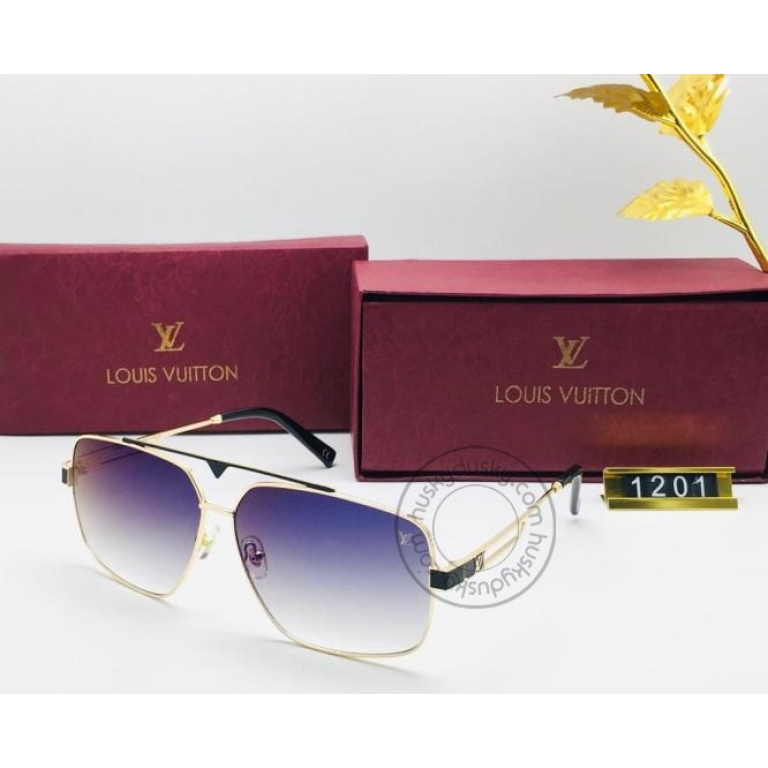 Louis Vuitton Branded Blue shade Glass Men's and Women's Sunglass for Man and Woman or Girls LV-1202 Gold And Black Frame Unisex Gift Sunglass