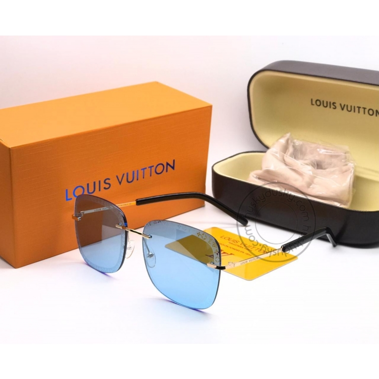 Louis Vuitton Branded Blue Glass Men's and Women's Sunglass for Man and Woman or Girls LV-141 Gold And Black Frame Unisex Gift Sunglass