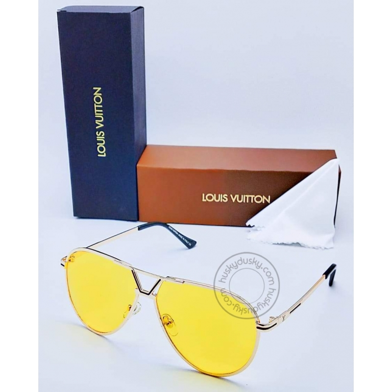 Louis Vuitton Branded Yellow Glass Men's and Women's Sunglass for Man and Woman or Girls LV-131 Gold And Black Frame Unisex Gift Sunglass