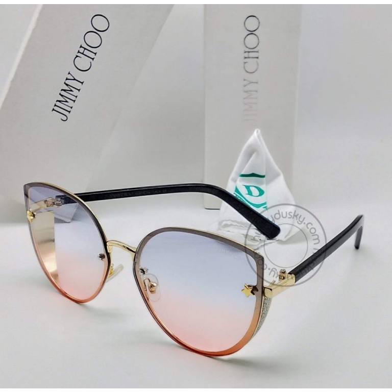 Jimmy Choo Branded Multi Color Double Shade Blue&Red Glass Men's Women's Sunglass For Man Woman or Girl JC-320 Black Stick Frame Gift Sunglass