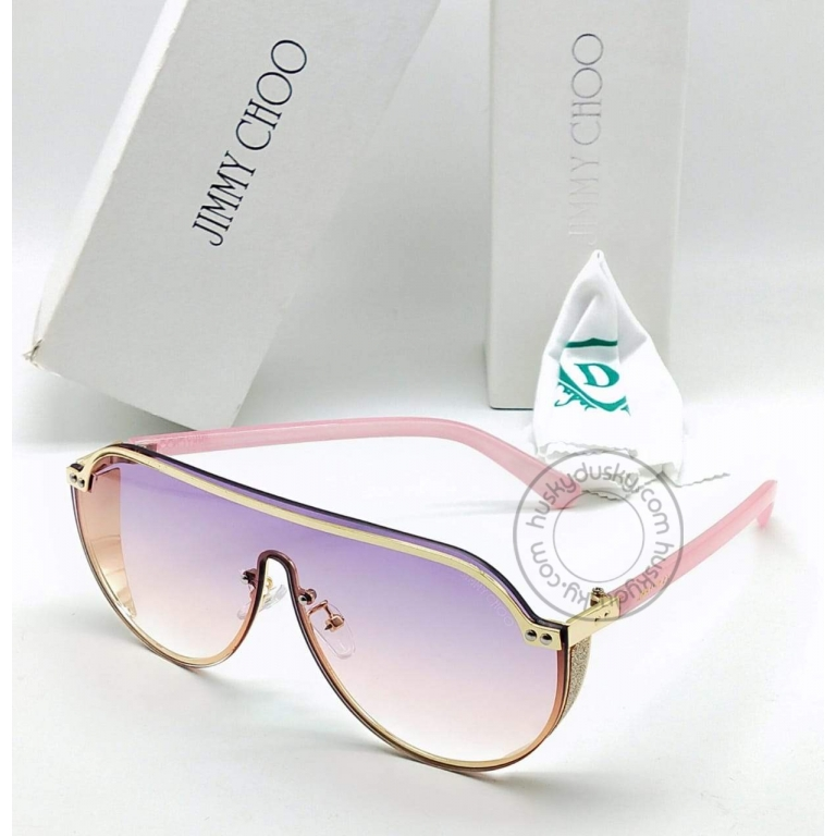 Jimmy Choo Branded Multi Color Double Shade Purple&Pink Glass Women's Sunglass For Woman or Girl JC-321 Pink Stick Frame Gift Sunglass